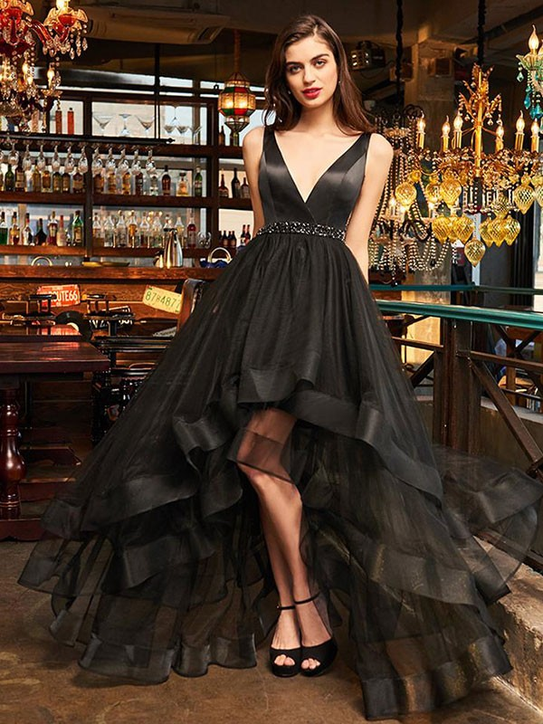 A-Line Sleeveless V-neck Asymmetrical Organza Black Prom Dresses
