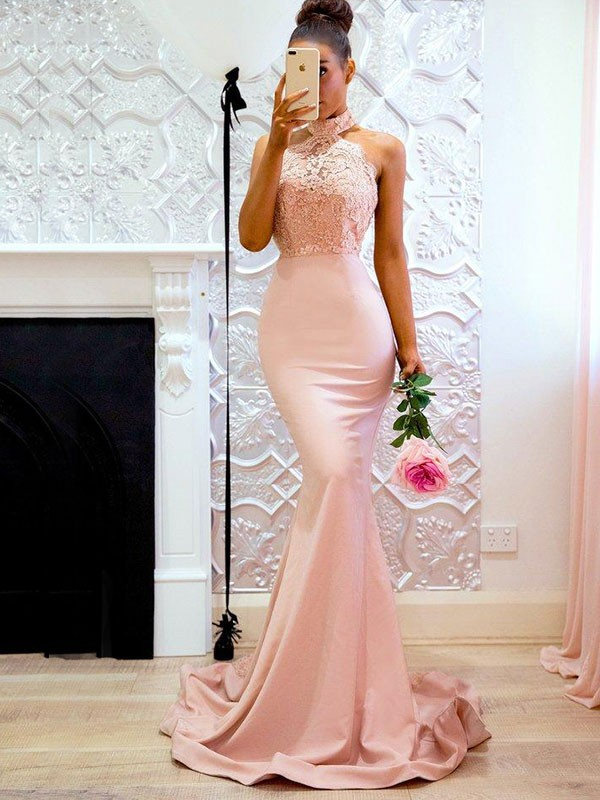 Mermaid Sleeveless Brush Train Lace Satin Pearl Pink Prom Dresses