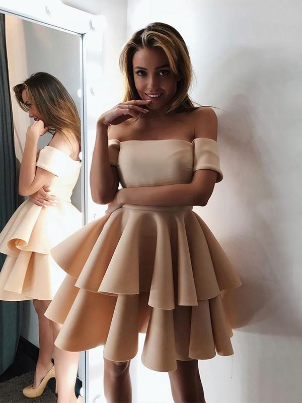 A-Line/Princess Satin Layers Off-the-Shoulder Sleeveless Short/Mini Dresses