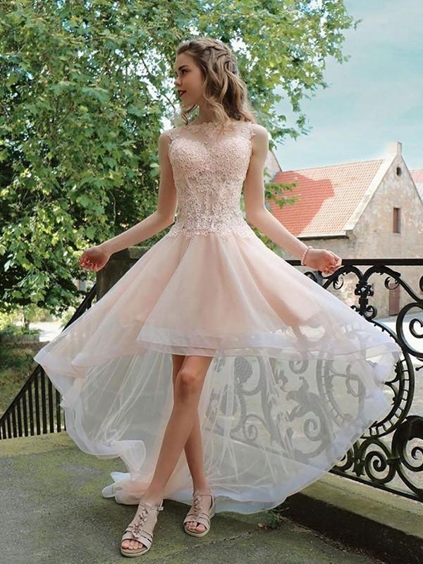 A-Line/Princess Tulle Applique Sheer Neck Sleeveless Asymmetrical Dresses