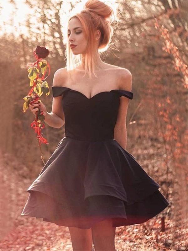 A-Line/Princess Spandex Ruffles Off-the-Shoulder Sleeveless Short/Mini Dresses