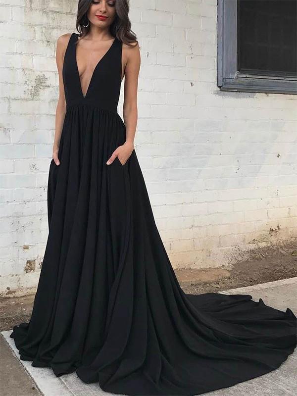 A-Line/Princess Ruffles V-neck Satin Court Train Sleeveless Dresses