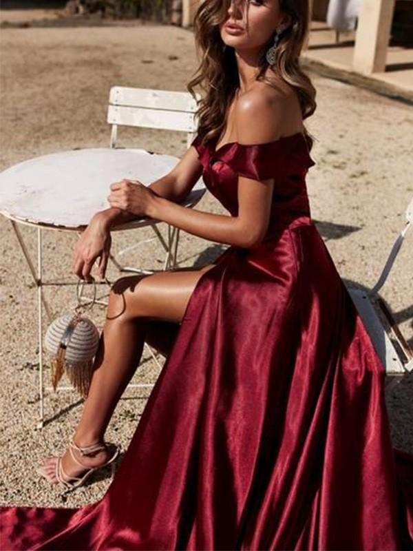 A-Line/Princess Off-the-Shoulder Satin Ruffles Court Train Sleeveless Dresses