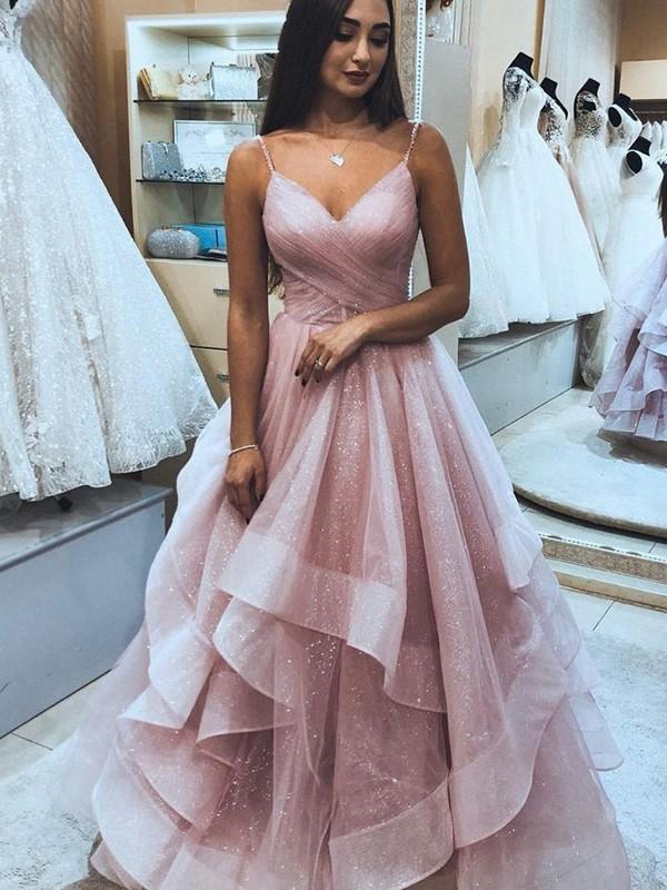 A-Line/Princess Organza Spaghetti Straps Sleeveless Ruffles Floor-Length Dresses