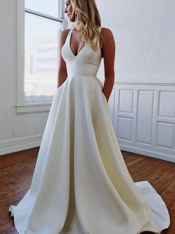A-Line/Princess V-neck Stretch Crepe Ruffles Sleeveless Sweep/Brush Train Wedding Dresses