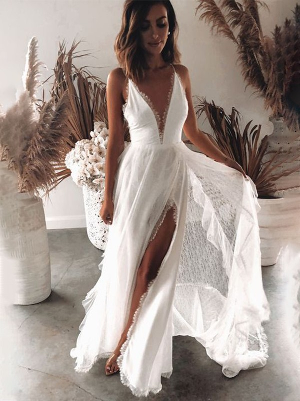 A-Line/Princess Lace Ruffles V-neck Sleeveless Floor-Length Wedding Dresses