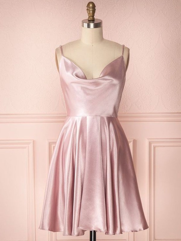 A-Line/Princess Satin Ruffles Sleeveless Spaghetti Straps Short/Mini Homecoming Dresses