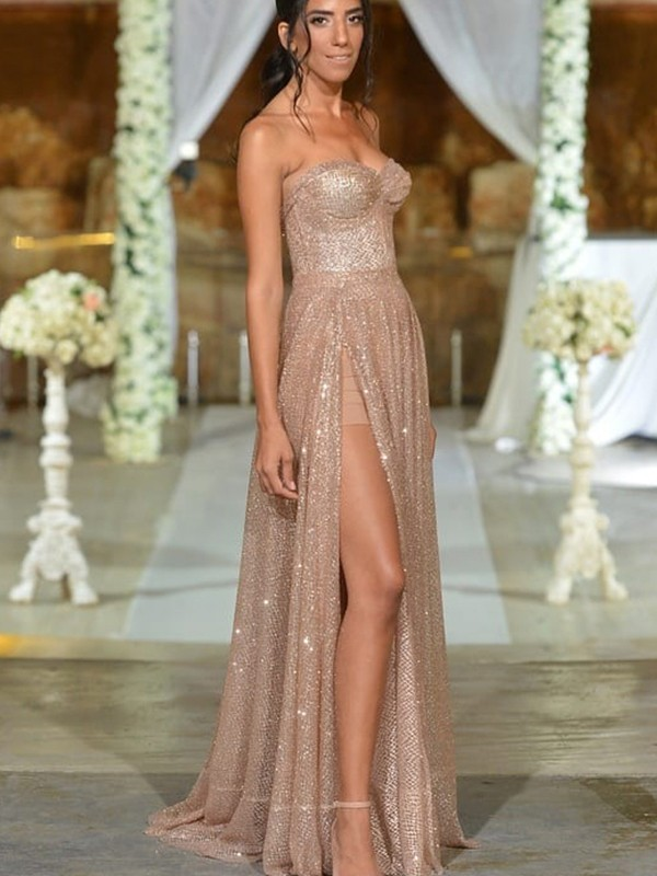 A-Line/Princess Sleeveless Ruffles Sequins Sweetheart Floor-Length Dresses