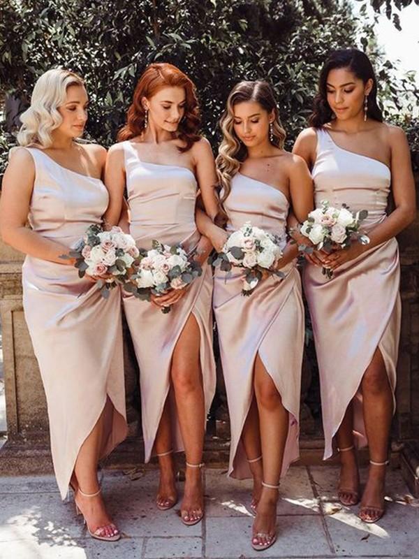 Sheath/Column One-Shoulder Ruched Satin Sleeveless Ankle-Length Bridesmaid Dresses
