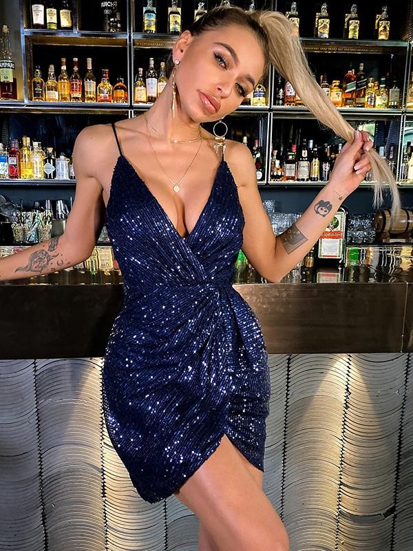 Sheath/Column Sequins Ruched V-neck Sleeveless Short/Mini Homecoming Dresses