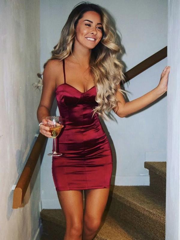 Sheath/Column Silk like Satin Ruched Spaghetti Straps Sleeveless Short/Mini Homecoming Dresses