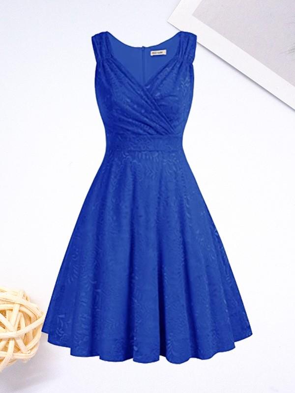 A-Line/Princess Satin Ruched V-neck Sleeveless Short/Mini Homecoming Dresses