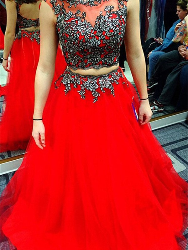 A-Line Satin Scoop Floor-Length Red Prom Dresses