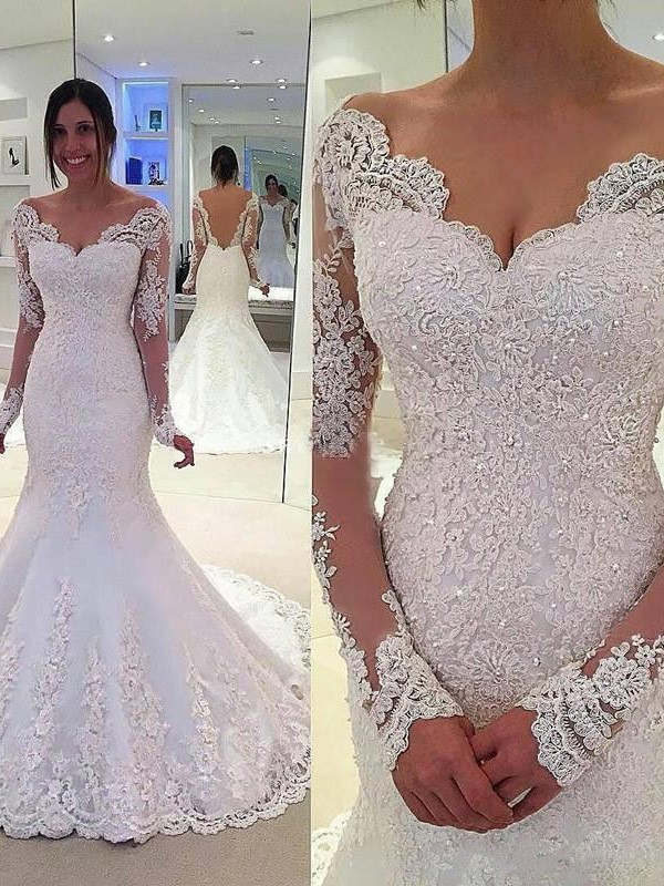 Tulle V-neck Court Train Ivory Wedding Dresses