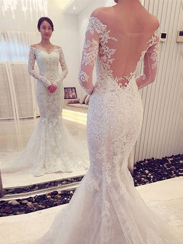 Long Sleeves Mermaid Off-the-Shoulder Brush Train White Wedding Dresses
