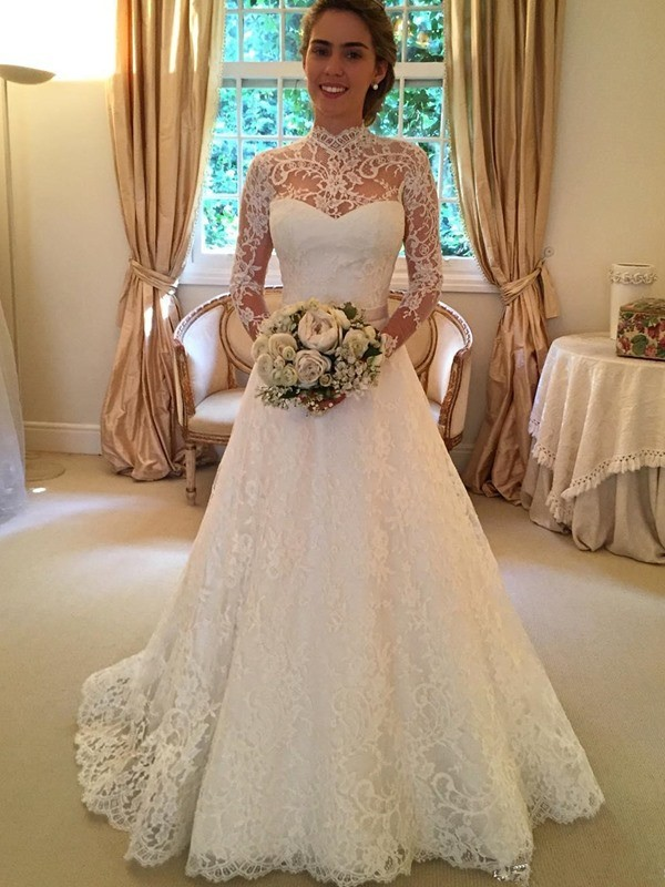 Ball Gown Long Sleeves High Neck Court Train White Wedding Dresses