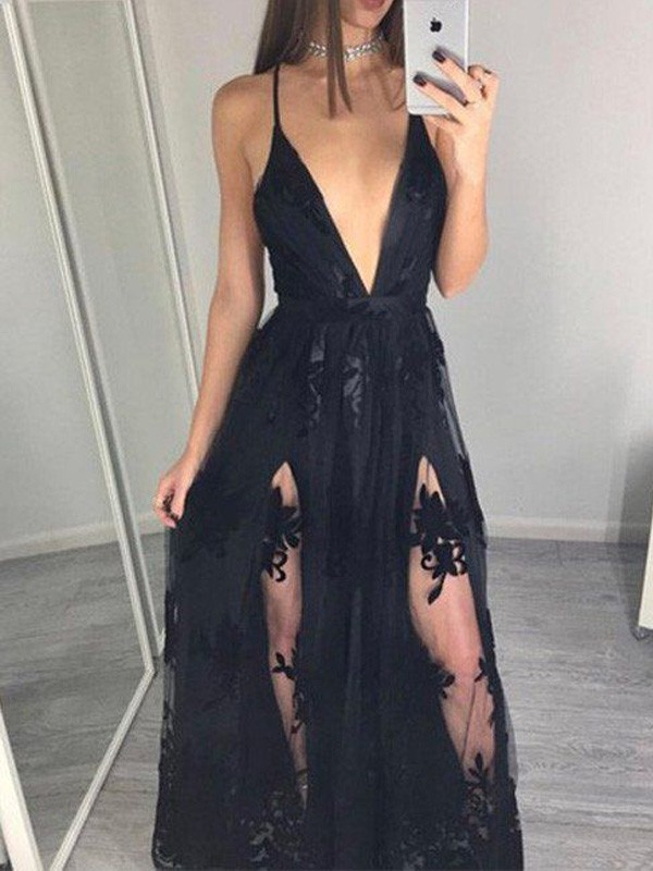 A-Line Tulle Spaghetti Straps Floor-Length Black Prom Dresses