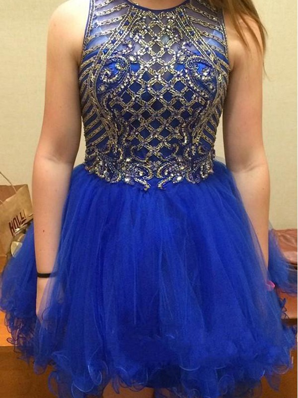 A-Line Scoop Short Royal Blue Homecoming Dresses with Beading