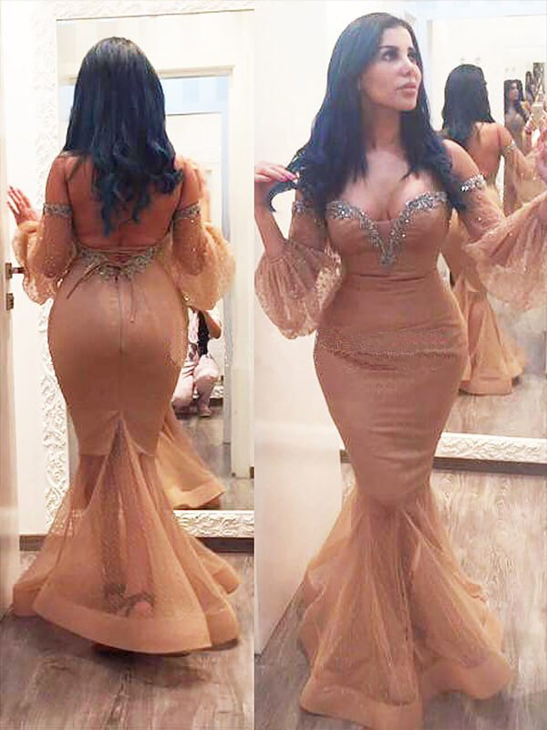Mermaid Off-the-Shoulder Floor-Length Champagne Prom Dresses with Beading