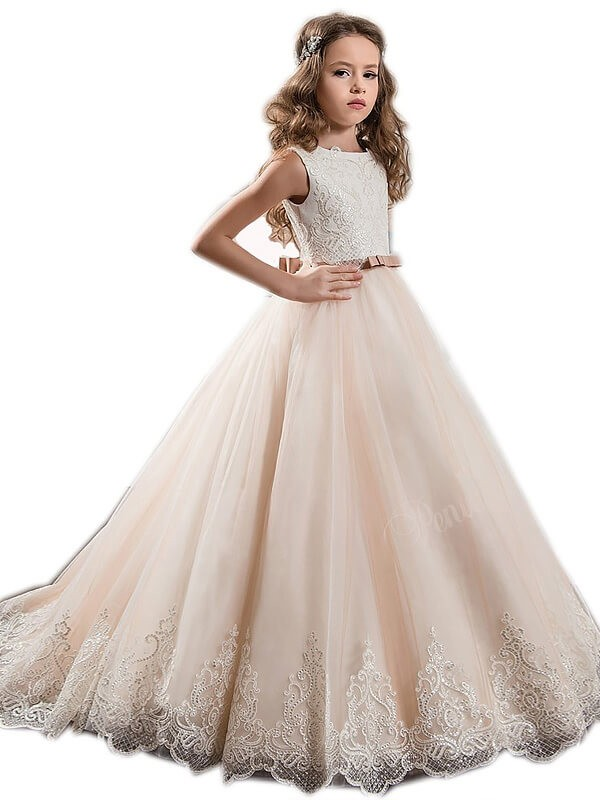 Ball Gown Jewel Brush Train Champagne Flower Girl Dresses