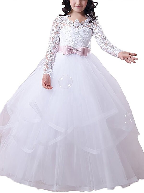 Ball Gown Jewel Floor-Length White Flower Girl Dresses with Lace
