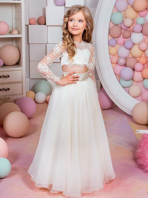 Chiffon Long Sleeves Jewel Floor-Length White Flower Girl Dresses