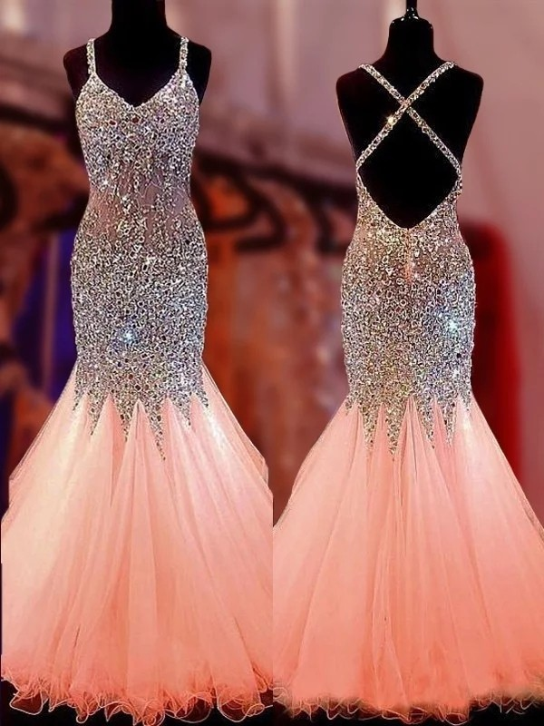 V-neck Floor-Length Pink Prom Dresses with Sequin