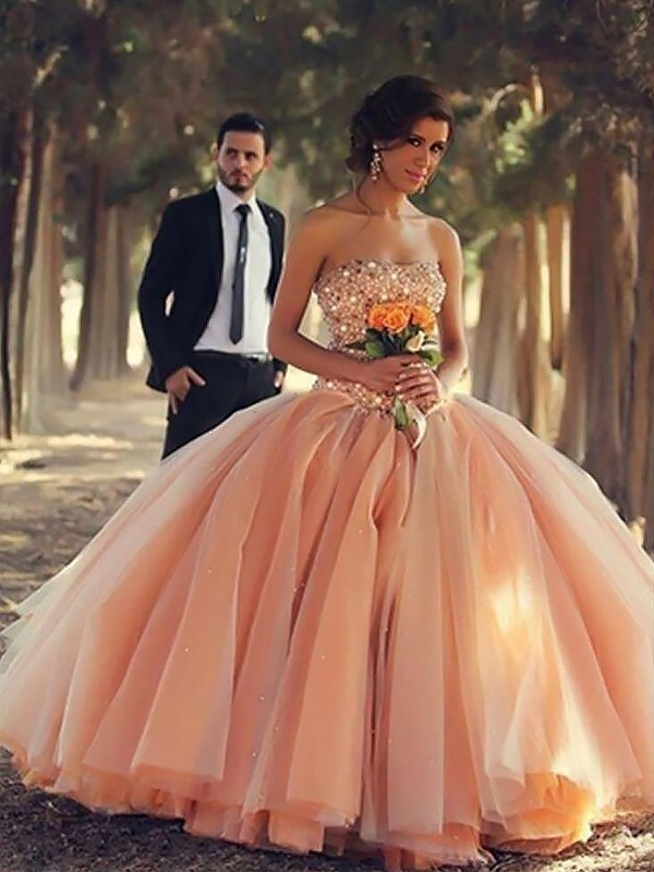 Ball Gown Strapless Floor-Length Orange Prom Dresses