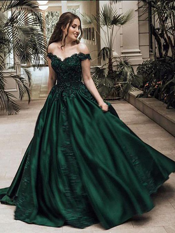 Ball Gown Off-the-Shoulder Floor-Length Dark Green Prom Dresses