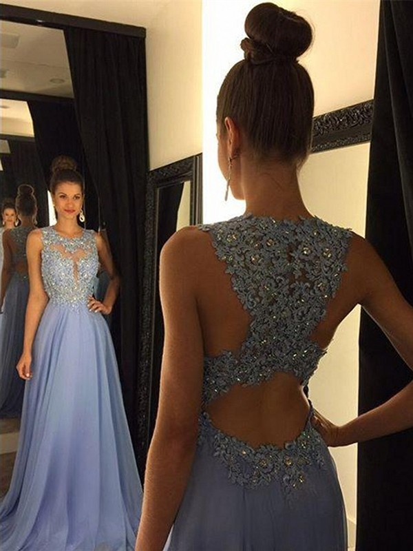A-Line Chiffon Scoop Brush Train Prom Dresses with Applique