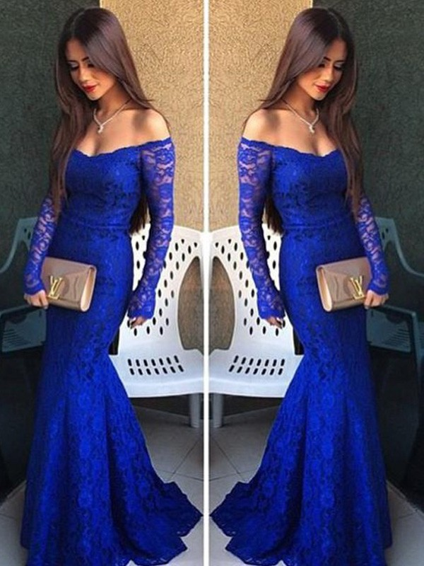 Mermaid Off-the-Shoulder Brush Train Royal Blue Prom Dresses