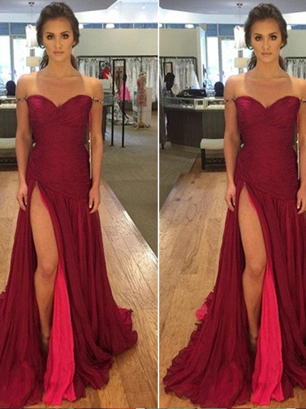 A-Line Off-the-Shoulder Sweep Train Burgundy Prom Dresses