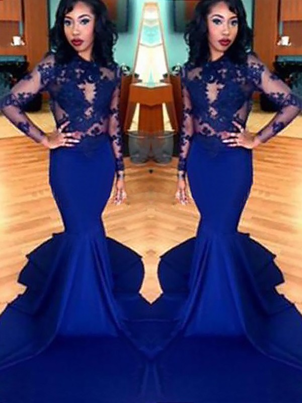 Mermaid Long Sleeves Scoop Brush Train Royal Blue Prom Dresses