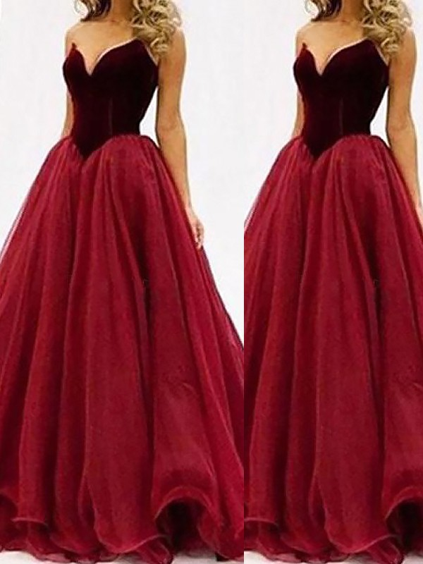 Ball Gown Sweetheart Floor-Length Red Prom Dresses