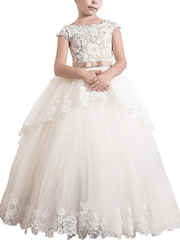Ball Gown Tulle Scoop Floor-Length Ivory Flower Girl Dresses