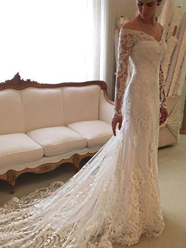 Lace Off-the-Shoulder Court Train Ivory Wedding Dresses