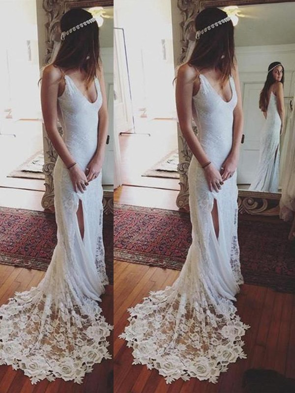 Lace Straps Court Train Ivory Wedding Dresses