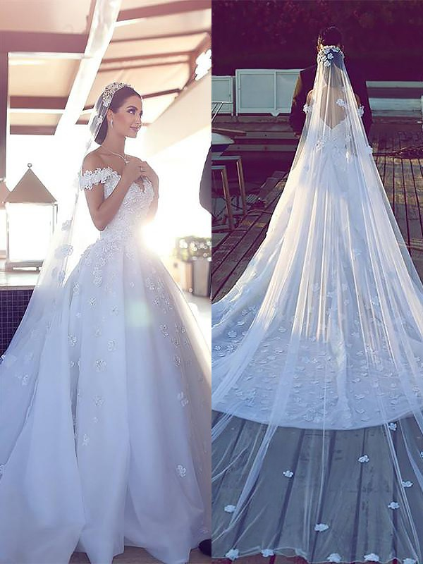 Ivory Ball Gown V-neck Chapel Train Wedding Dresses