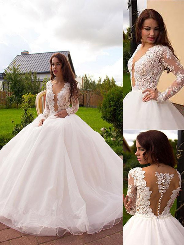Ball Gown Tulle Long Sleeves V-neck Court Train Ivory Wedding Dresses