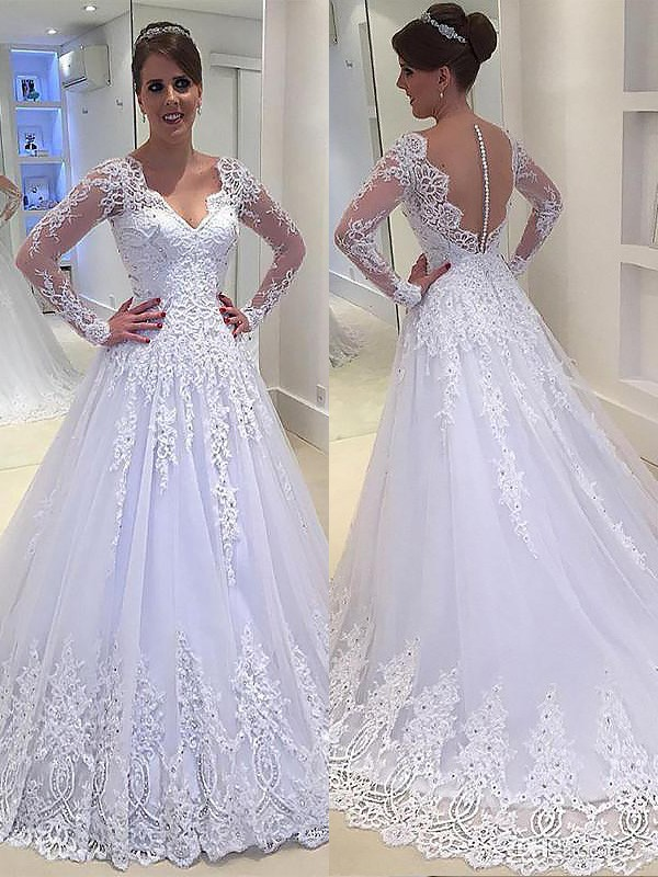 Court Train Ivory Long Sleeves V-neck Wedding Dresses with Applique