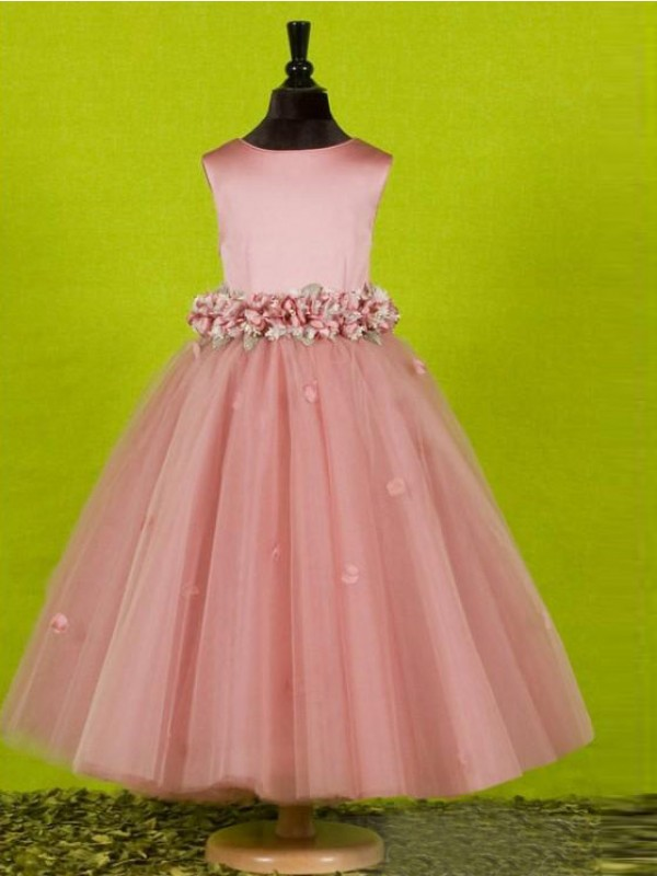 A-Line Tulle Scoop Long Flower Girl Dresses with Bowknot