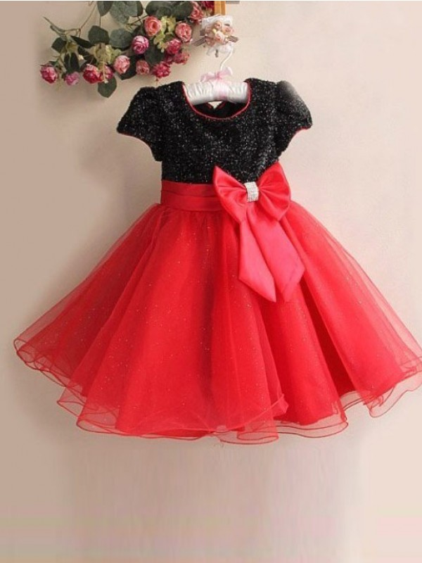 Organza A-Line Tea-Length Scoop Red Flower Girl Dresses