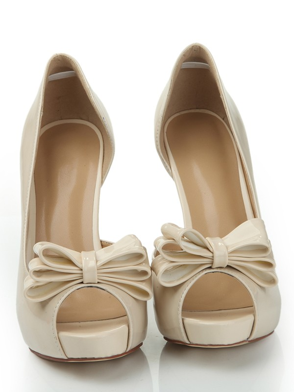 Patent Leather Peep Toe Platform Stiletto Heel With Bowknot Platforms Shoes