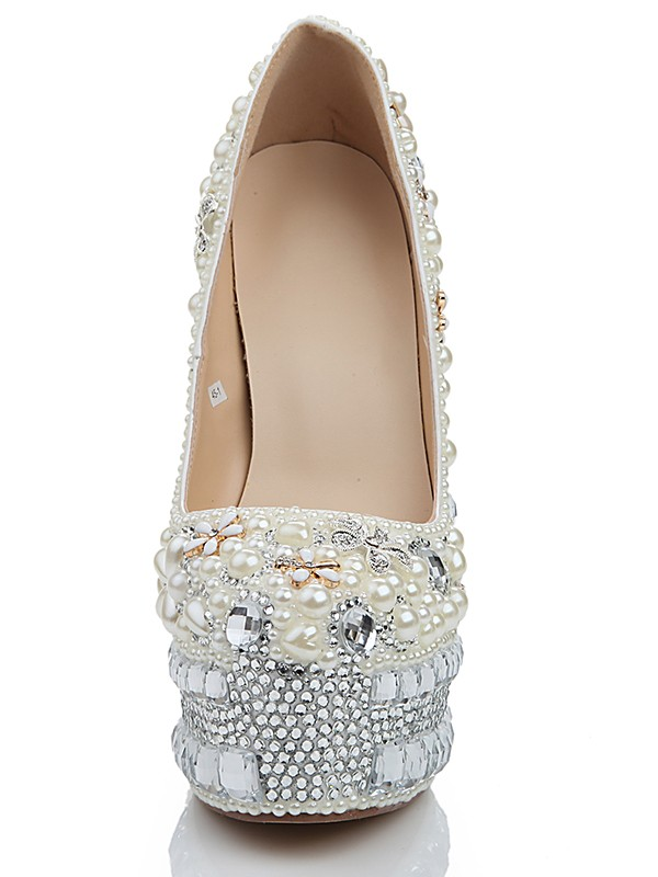 Stiletto Heel Platform Patent Leather Closed Toe With Pearl White Wedding Shoes