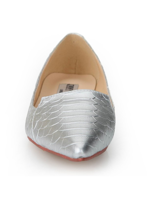 Flat Heel Sheepskin Closed Toe With Fish-scale Pattern Flat Shoes