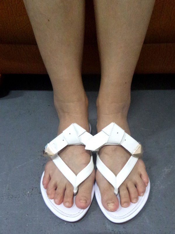 Patent Leather Peep Toe Flats White Sandals Shoes