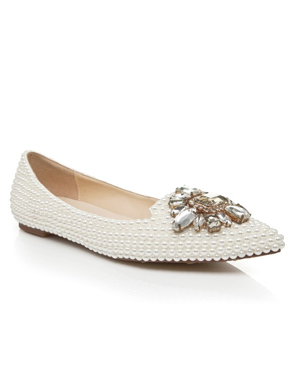 Patent Leather Flat Heel Closed Toe With Pearl Rhinestone Casual Flat Shoes