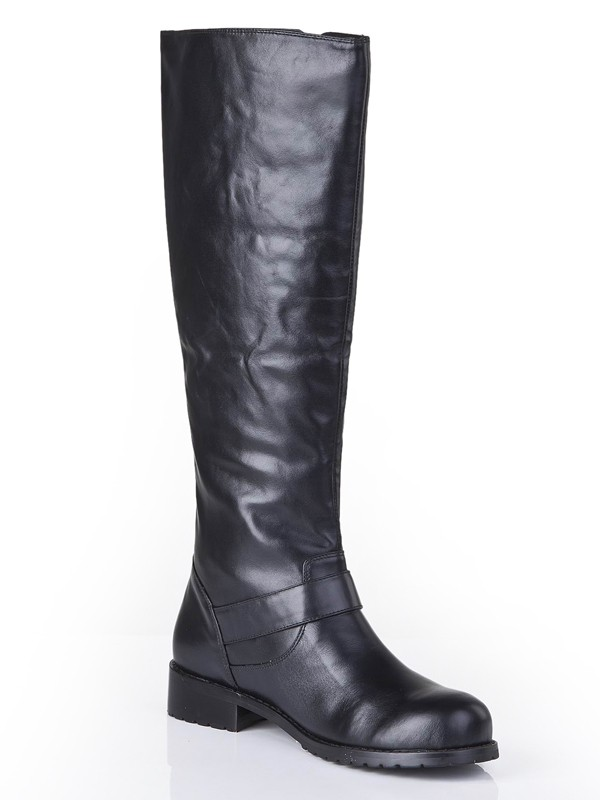 Cattlehide Leather Closed Toe Kitten Heel With Buckle Mid-Calf Black Boots