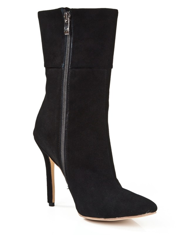 Suede Stiletto Heel Closed Toe With Zipper Mid-Calf Black Boots
