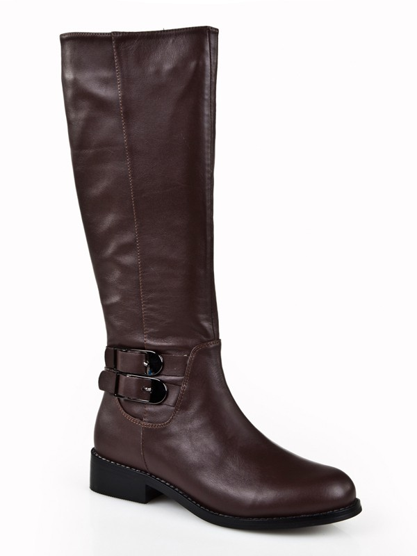 Kitten Heel Closed Toe Cattlehide Leather With Buckle Mid-Calf Chocolate Boots